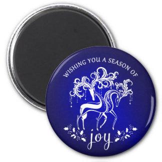 エレガントなトナカイの喜びの青い休日の磁石 マグネット
