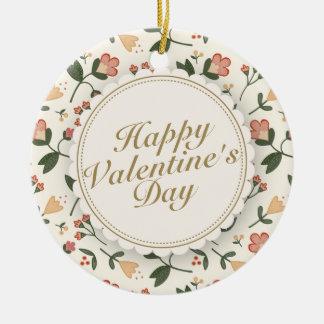 エレガントなハッピーバレンタインデーの花模様カット セラミックオーナメント
