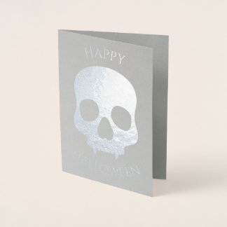 エレガントなハロウィンのスカルの魅力の銀 箔カード