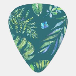 エレガントなハワイの水彩画の花柄 ギターピック