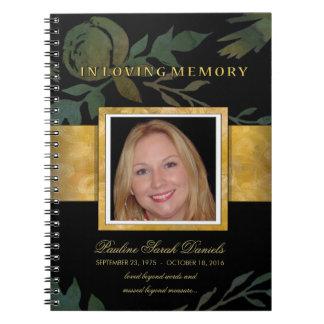エレガントなバラの黒の金ゴールドの記念の葬儀のゲストブック ノートブック