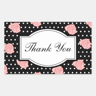 エレガントなバラはステッカー感謝していしています 長方形シール