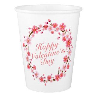 エレガントなバレンタインデーの花のリースの紙コップ 紙コップ