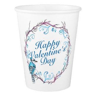 エレガントなバレンタインデーの青いリースの紙コップ 紙コップ
