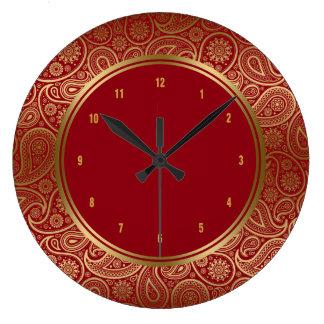 エレガントなバーガンディ及び金ゴールドのヴィンテージのペイズリーパターン ラージ壁時計