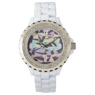 エレガントなパステルカラーのブロックの幾何学的な三角形 腕時計