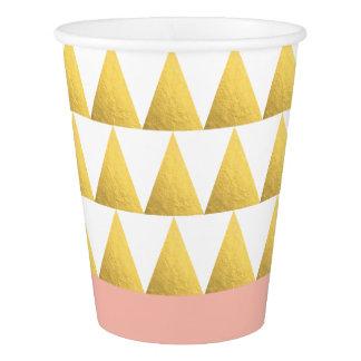エレガントなパステル調のモモ、模造のな金ゴールドの三角形パターン 紙コップ