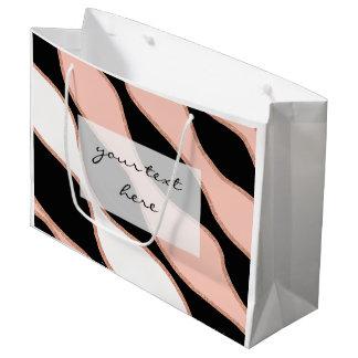 エレガントなパステル調ピンクののどのばら色の金ゴールドのグリッターパターン ラージペーパーバッグ