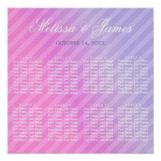 エレガントなパステル調ピンクの薄紫のストライプのな座席の図表 ポスター