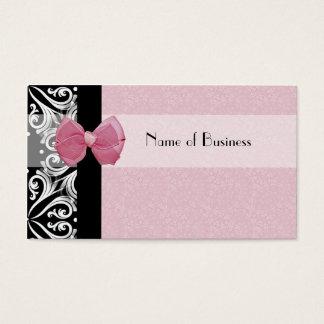 エレガントなパリのダマスク織のピンクのリボン 名刺