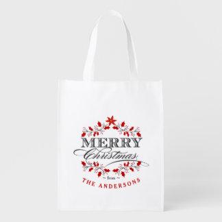 エレガントなヒイラギのクリスマスのタイポグラフィのギフトのトートバック エコバッグ