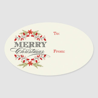 エレガントなヒイラギのクリスマスのタイポグラフィのギフトのラベル 楕円形シール