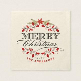 エレガントなヒイラギのクリスマスのタイポグラフィの紙ナプキン スタンダードカクテルナプキン