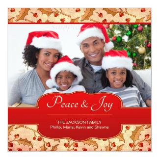 エレガントなヒイラギの果実のクリスマスの名前入りな写真 カード