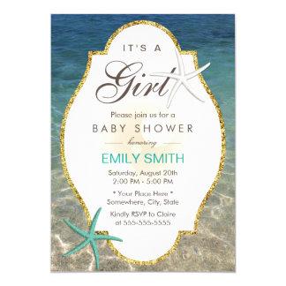 エレガントなヒトデの熱帯ビーチの女の子のベビーシャワー 12.7 X 17.8 インビテーションカード