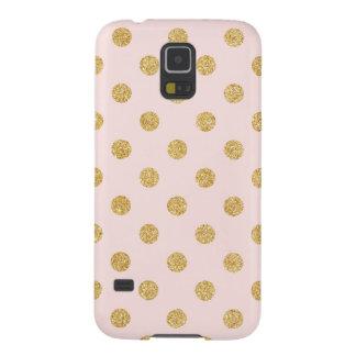 エレガントなピンクおよび金ゴールドのグリッターの水玉模様パターン GALAXY S5 ケース