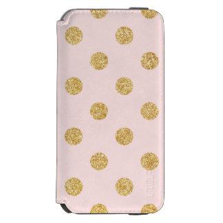エレガントなピンクおよび金ゴールドのグリッターの水玉模様パターン INCIPIO WATSON™ iPhone 5 財布型ケース