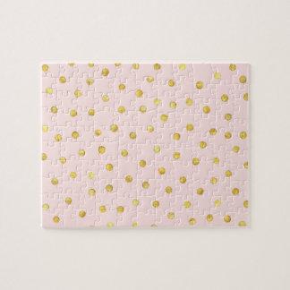 エレガントなピンクおよび金ゴールドホイルの紙吹雪のドット・パターン ジグソーパズル