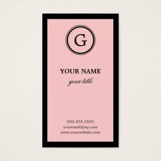 エレガントなピンクおよび黒いモノグラムの名刺 名刺