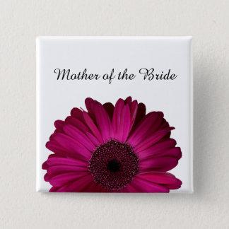 エレガントなピンクのガーベラのデイジーの結婚式 5.1CM 正方形バッジ