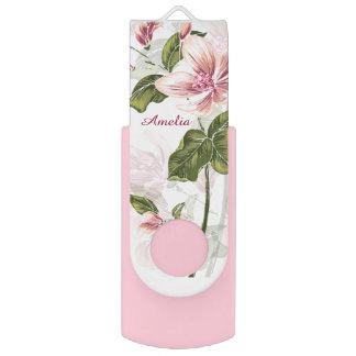 エレガントなピンクのガーリーな花の名前入り USBフラッシュドライブ