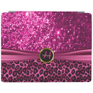 エレガントなピンクのグリッターおよびヒョウの皮 iPadスマートカバー