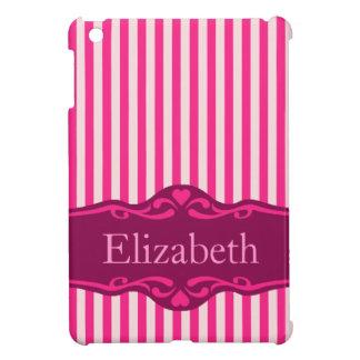 エレガントなピンクのストライプので名前入りなデザイン iPad MINIカバー