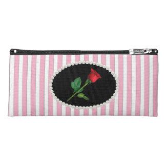エレガントなピンクのストライプのな真珠及び赤いバラ ペンシルケース