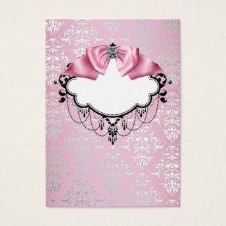 エレガントなピンクのダマスク織の名刺のテンプレート 名刺