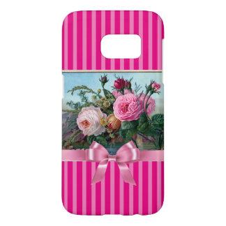 エレガントなピンクのバラおよび弓電話箱 SAMSUNG GALAXY S7 ケース