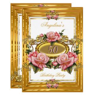 エレガントなピンクのバラの金ゴールドの白い花の誕生会 カード