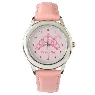 エレガントなピンクのプリンセスのティアラ、女の子のための王冠 腕時計