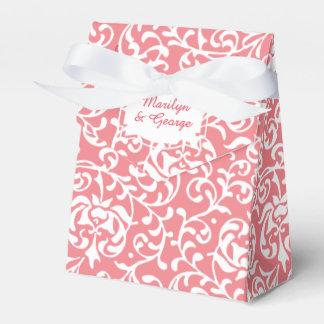 エレガントなピンクのモモおよび白いTudorのダマスク織の結婚式 フェイバーボックス