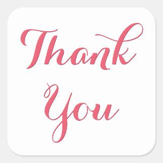 エレガントなピンクの原稿のパーティの記念品はステッカー感謝していしています 正方形シール