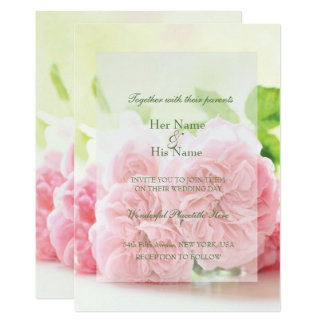 エレガントなピンクの夏のばら色の結婚式招待状 12.7 X 17.8 インビテーションカード