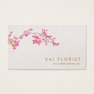 エレガントなピンクの桜の花柄の花 名刺