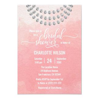エレガントなピンクの水彩画の模造のなダイヤモンドのブライダルシャワー 12.7 X 17.8 インビテーションカード