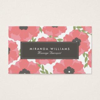 エレガントなピンクの花の名刺 名刺