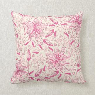 エレガントなピンクの花模様 クッション