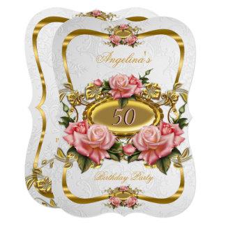 エレガントなピンクの金ゴールドのバラの白の第50誕生会 カード