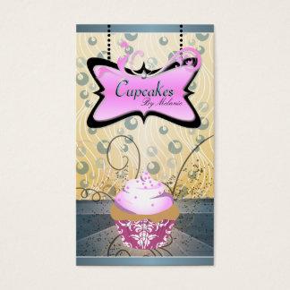 エレガントなピンク及び黄色い渦巻のカップケーキの名刺 名刺