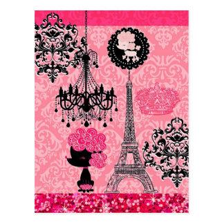 エレガントなフランスのでガーリーなエッフェル塔、子犬及びダマスク織 ポストカード