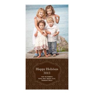 エレガントなブラウンの休日の写真カード カード