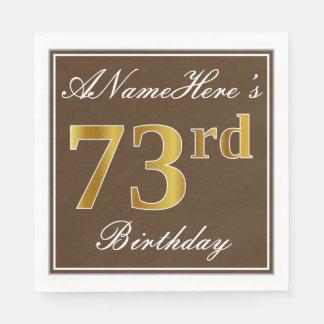 エレガントなブラウン、模造のな金ゴールドの第73誕生日 + 名前 スタンダードランチョンナプキン