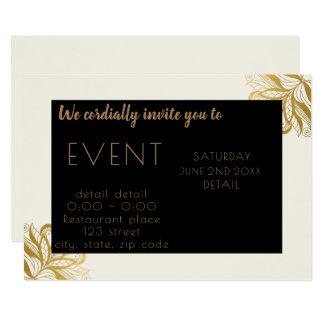 エレガントなボヘミアの黒、金ゴールド及びベージュ招待状 カード