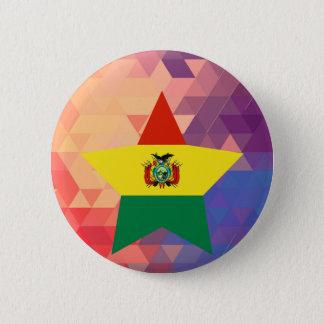 エレガントなボリビアの旗のハート 5.7CM 丸型バッジ