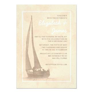 エレガントなボートの結婚式招待状 カード