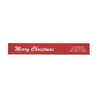 エレガントなメリークリスマスのBrushstokeの原稿の覆い ラップアラウンド返信用宛名ラベル