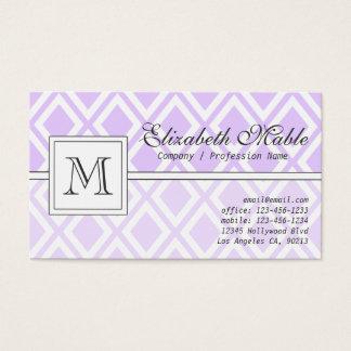 エレガントなモノグラムの淡い色のな紫色のダイヤモンドパターン 名刺