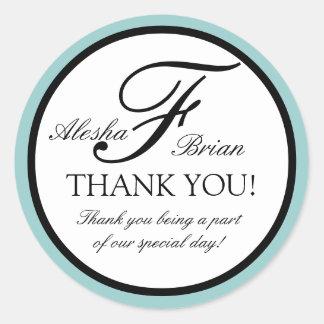 エレガントなモノグラムの結婚式の好意はステッカー感謝していしています 丸形シール・ステッカー